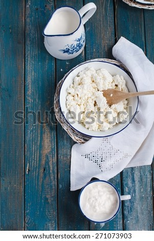 Healthy breakfast product  concepts. Homemade Yogurt, milk and ricotta cheese over on rustic table. - stock photo
