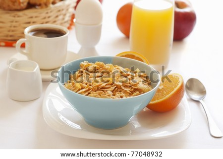 healthy breakfast with bowl of cereal - stock photo
