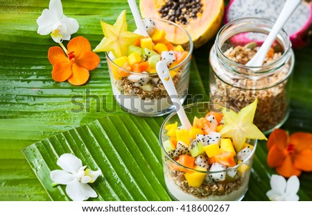 Healthy breakfast with exotic fruits, yogurt and granola - stock photo