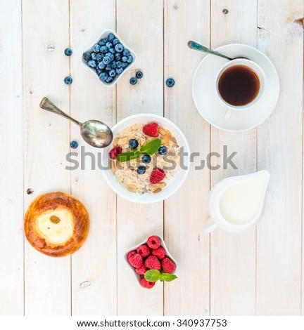 healthy breakfast with muesli top view - stock photo