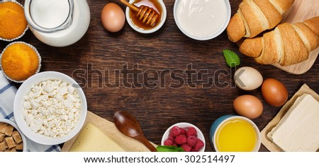 Healthy breakfast with natural dairy products. Top view, horizontal. Food background - stock photo