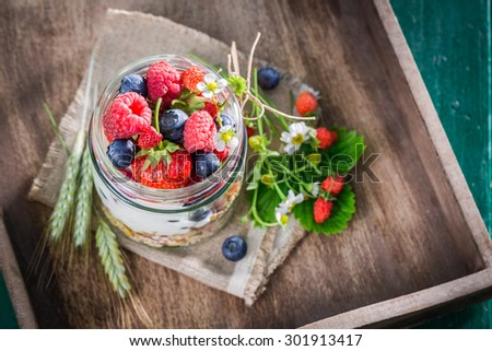 Healthy breakfast with yogurt and berry fruits in garden - stock photo