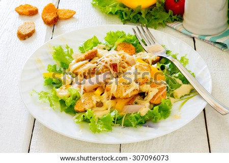 Healthy Caesar Salad with Cheese and Croutons - stock photo