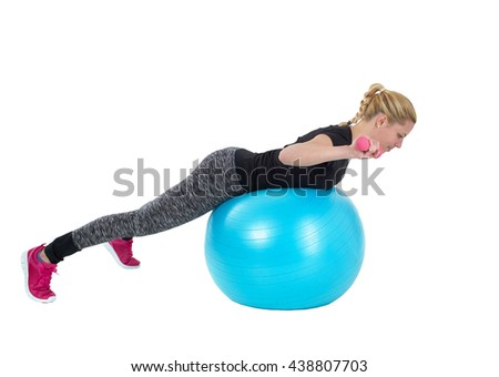 Healthy caucasian woman with dumbbells working out on white background. Fitness gym concept. - stock photo