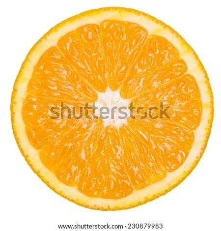 Healthy citrus fruity food. Slice of fresh orange on a white isolated - stock photo