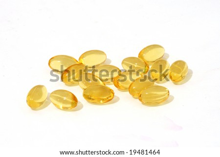 healthy cod liver oil nutritional supplements pills - stock photo
