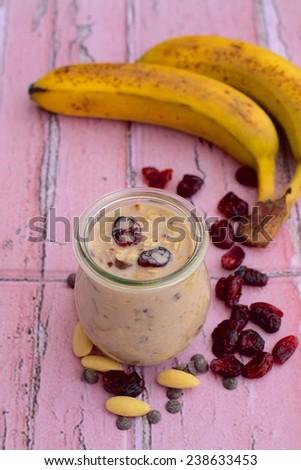 Healthy Cranberry Almond Banana Overnight Oats - stock photo