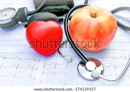 Healthy diet and exercise for a healthy life - stock photo