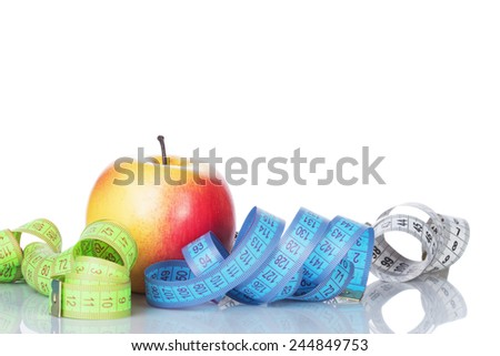 healthy diet concept , apple and a measuring - stock photo