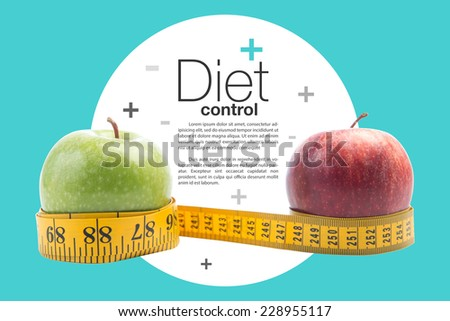 healthy diet concept , apple and a measuring tape,clipping path - stock photo