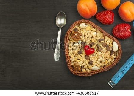 Healthy dietary supplements for athletes. Cheerios for breakfast. Muesli and fruit. The diet for weight loss. Muesli to eat. Sweet muesli. sale muesli. Shop with a healthy diet.  - stock photo