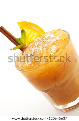 Healthy Drink. Pumpkin Smoothie with Honey and Cinnamon - stock photo