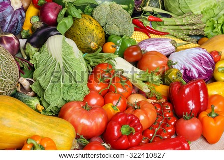 Healthy eating background / food photography of the variety of vegetables at the market - stock photo