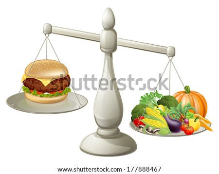Healthy eating balanced diet concept, a large weight of healthy food means you can have the occasional treat - stock photo