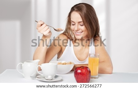 Healthy Eating, Breakfast, Women. - stock photo