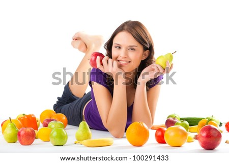 Healthy eating, happy woman with fruits and vegetables is eating a apple - stock photo