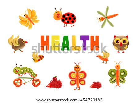 Healthy eating. Little funny vegetables around the word HEALTH - stock photo