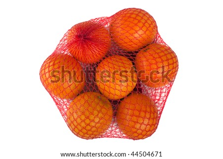 Healthy eating orange fruit food full shopping bag - stock photo