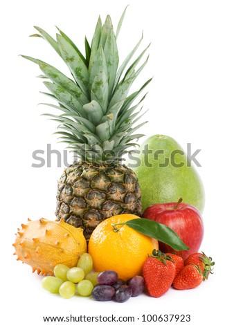 Healthy Eating. Seasonal organic raw fruit. Isolated over white background - stock photo