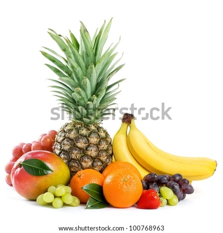 Healthy Eating. Seasonal organic raw fruit. Isolated over white background - stock photo