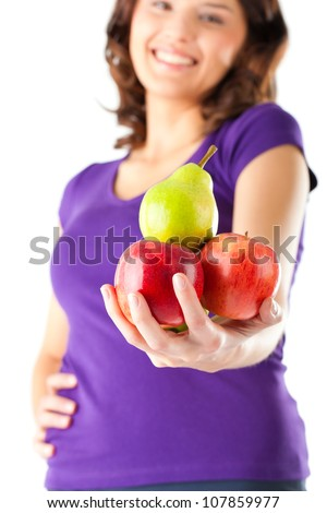 Healthy eating, woman with apples and pear - stock photo