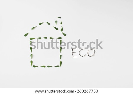 healthy ecological living symbol icon made with green leaves - stock photo