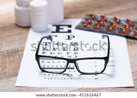 Healthy eyes. Eye chart and medicine - stock photo