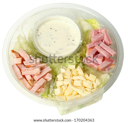 Healthy Fast Food Chef Salad in Carryout Bowl isolated over white. - stock photo