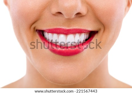 Healthy female teeth and smile, isolated over white background. - stock photo