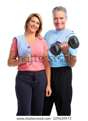 Healthy fitness elderly couple. Sport and exercise concept. - stock photo