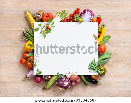 Healthy food background and Copy space / studio photography of white paper surrounded by fresh vegetables on old wooden table - stock photo