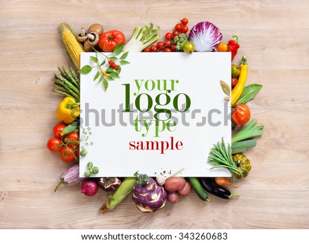 Healthy food background and Copy space / studio photography of white paper surrounded by fresh vegetables on old wooden table. Healthy food background, top view. High resolution product, - stock photo
