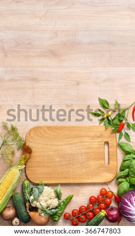 Healthy food background and wooden Copy space / Top view with copy space / high-res product, studio photography of different vegetables on old wooden table. - stock photo