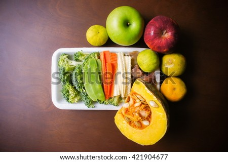 Healthy food background / fruits and vegetables  - stock photo