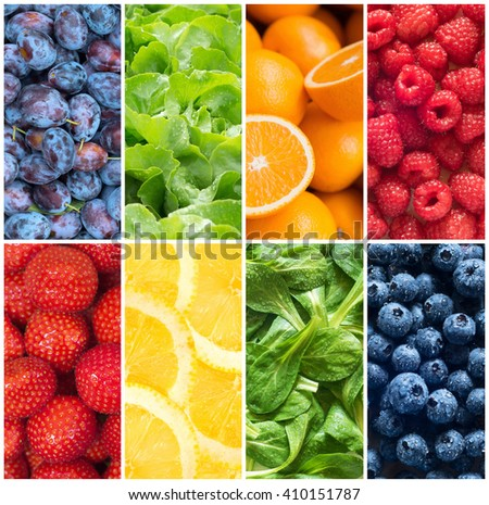 Healthy food backgrounds, eight images of lemons, plums, raspberries, lettuce, strawberries, oranges and field salad - stock photo