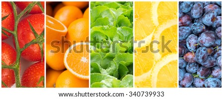 Healthy food backgrounds, five images of lemons, plums, tomatoes, salad and oranges - stock photo