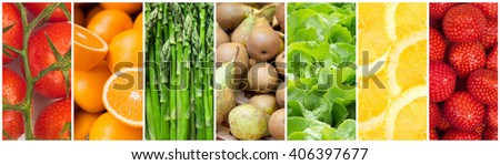 Healthy food backgrounds, seven images of lemons, asparagus, pears, tomatoes, salad, strawberries and oranges - stock photo