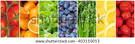 Healthy food backgrounds, seven images of lemons, plums, asparagus, tomatoes, salad, strawberries and oranges  - stock photo
