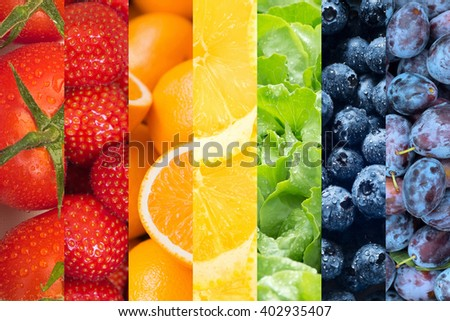 Healthy food backgrounds, seven images of lemons, plums, blueberries, tomatoes, salad, strawberries and oranges - stock photo