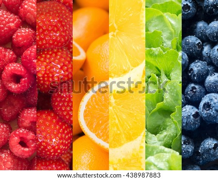 Healthy food backgrounds, six images of lemons, blueberries, salad, strawberries, raspberries and oranges - stock photo