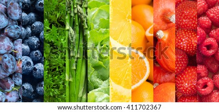 Healthy food backgrounds, ten images of strawberries, lemons, asparagus, raspberries, plums, blueberries, pumpkins, lettuce, parsley and oranges - stock photo