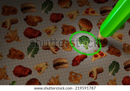 Healthy food choice diet and dieting concept as a menu with healthy and unhealthy meal choices with a pencil selecting a green vegetable as a symbol of making a wise lifestyle nutrition decision. - stock photo