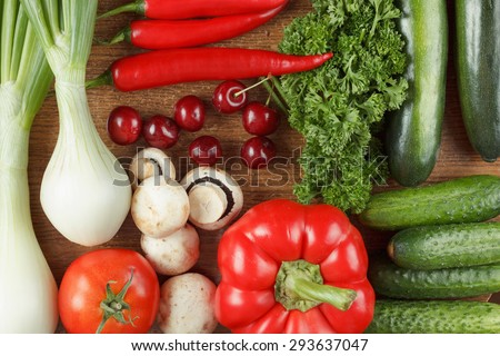 Healthy food - fresh Fruits and vegetables. Collection, set - stock photo