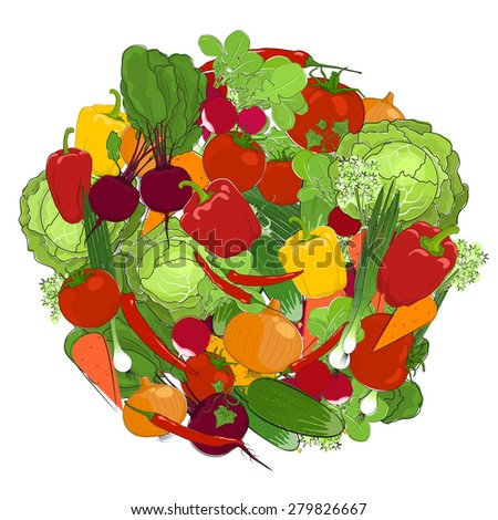 Healthy food, fresh raw vegetables on a white background - stock photo
