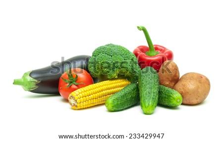 healthy food: fresh vegetables isolated on white background close-up. horizontal photo. - stock photo
