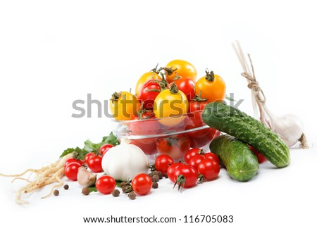 Healthy food. Fresh vegetables on a white background. - stock photo
