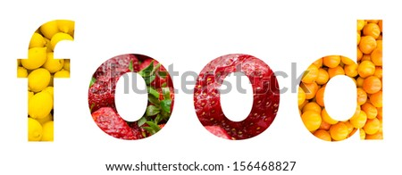 Healthy Food Fruits Word Concept - stock photo