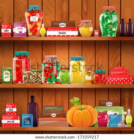Healthy food in the home pantry. illustration - stock photo