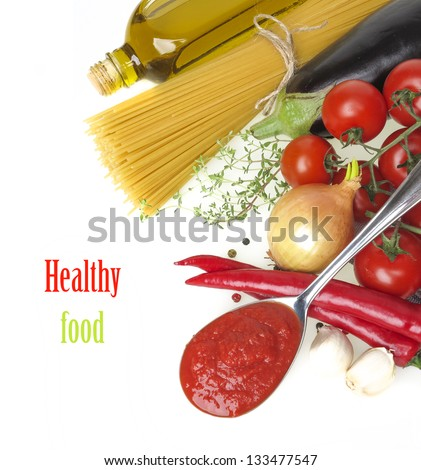 healthy food on a white background - stock photo
