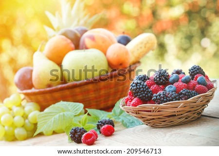 Healthy food - organic food  (fresh fruits)  - stock photo